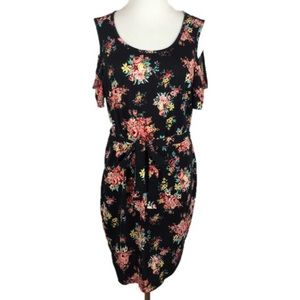 B&B Boutique Floral Cold Shoulder Sleeveless Dress